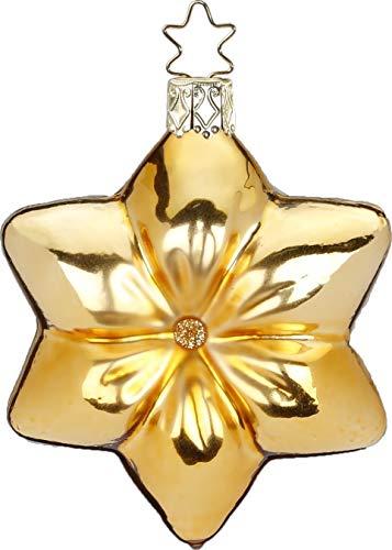 Inge-Glas Cushion Star Inkagold Shiny 10105S019 German Glass Christmas ORN