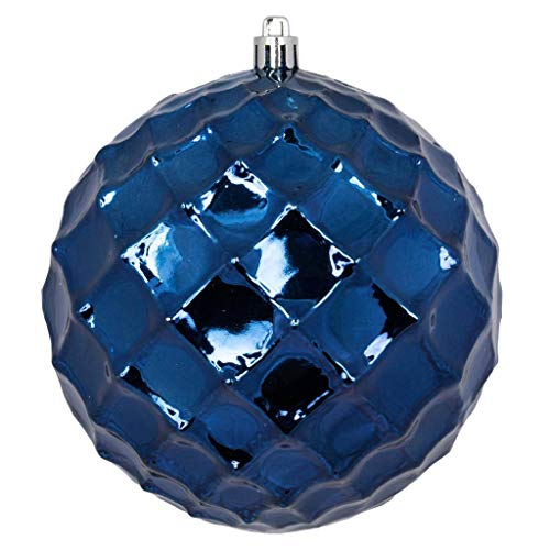 Vickerman 568750-4″ Midnight Blue Diamond Bauble Ball Christmas Tree Ornament (6 pack) (N174131D)
