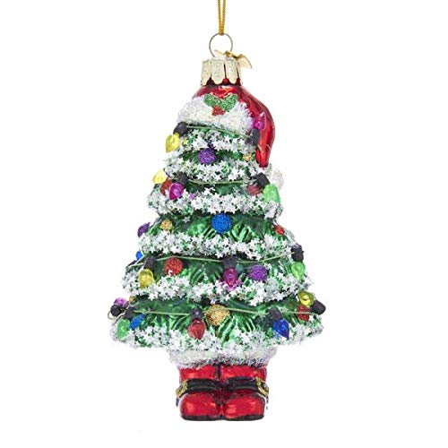 Kurt Adler Noble Gems Christmas Tree with Santa Hat and Boots Glass Hanging Ornament, 5.25 inches Height