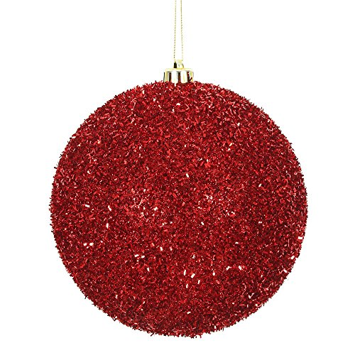 Vickerman Ball Ornament, 6″, Red