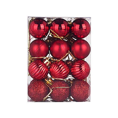 Fine 24Pcs(30mm) Christmas Balls Ornaments, Shatterproof Ball Ornament Seasonal Decorations Ideal for Xmas, Holiday and Party Widgets (Red)