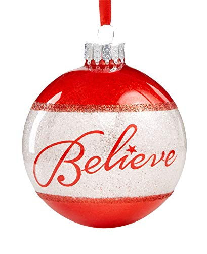 Holiday Lane Ornament (Red/White Ball, Believe)