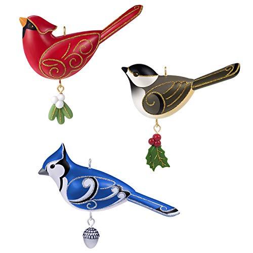 Hallmark Keepsake Christmas 2019 Year Dated Oversized Ornament, Outdoor Bird Set of 3