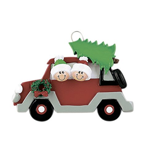 Personalized Christmas Tree Caravan Family of 2 Ornament 2019 – Couple Sibling Friend Travel Red Car Wreath Tradition Honeymoon Winter Eve Holiday Vacation Kid Décor Year – Free Customization (Two)