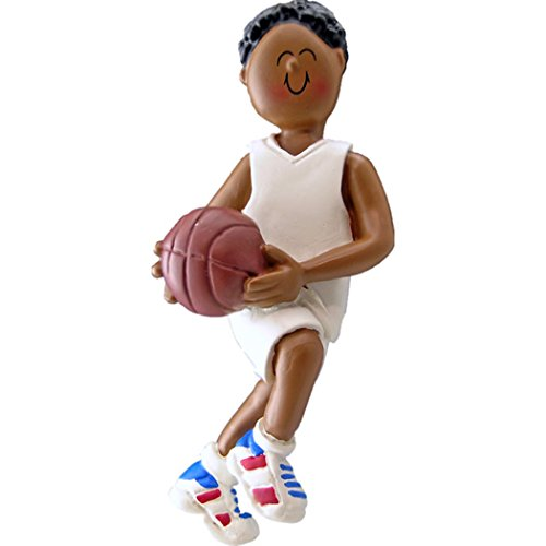 Personalized Basketball Team Boy Christmas Tree Ornament 2019 – African-American Man Athlete B-Ball Hobby School NBA Black Profession Grand-Son – Free Customization (Female Ethnic)
