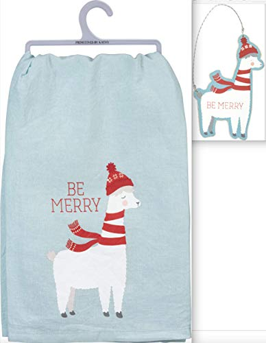Primitives by Kathy Holiday Llama Bundle 2 Items in Blue Organza Bag – Dish Towel and Ornament – Be Merry