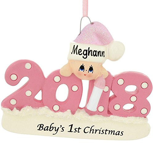 Rudolph and Me 2018 Baby's 1st Christmas Ornament Personalized – Blue Boy, Pink Girl, or Red (Pink Girl)