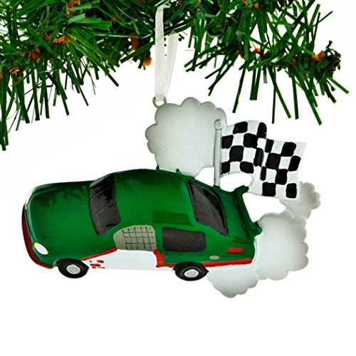 Personalized Race Car Checkered Flag Christmas Tree Ornament 2019 – Green Motorsport Auto-Mobile Street Racing Off-Track Action Formula 1 Video Game Boy Holiday Hobby Gift Year – Free Customization