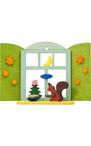 Alexander Taron 4257 Graupner Ornament – Squirrel in Window – 2.5″ H x 3.25″ W x 1″ D, Yellow