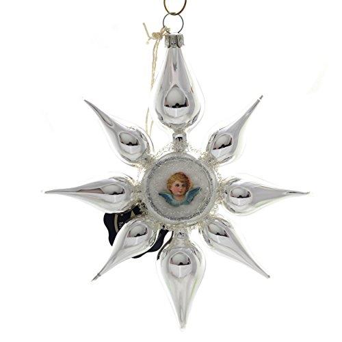 Marolin Stern MIT OBLATE AUF Clip Glass Ornament Germany Viktorian 7000600