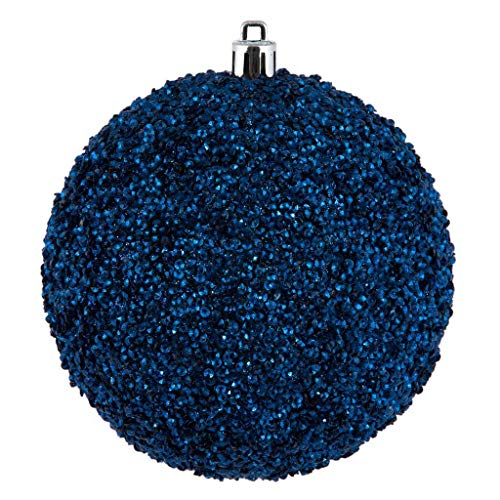 Vickerman 531921-4.75″ Midnight Blue Beaded Ball Christmas Tree Ornament (6 pack) (N185731D)