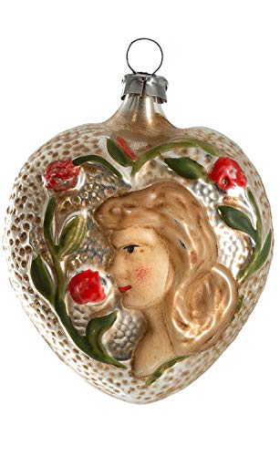 Marolin Heart with Girl and Roses MA2011209 Glass Christmas Ornament w/Gift Box