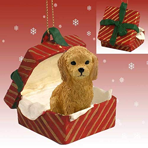 Conversation Concepts Goldendoodle Gift Box Red Ornament