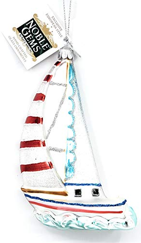 Kurt Adler Noble Gems Sailboat Glass Nautical Coastal Christmas Ornament