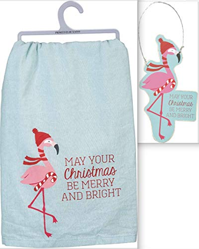 Primitives by Kathy Holiday Flamingo Bundle Set of 2 – Dish Towel and Ornament in Blue Organza Bag – May Your Christmas Be Merry and Bright