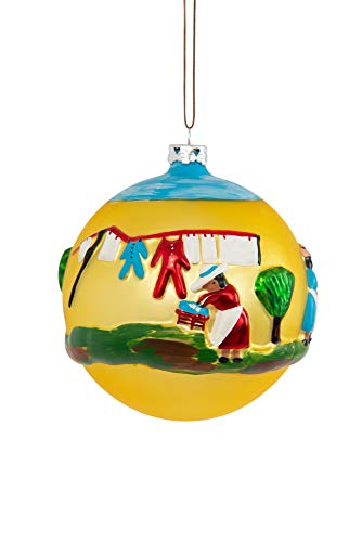 The Clementine Hunter Collection-Collectible Christmas Ornaments, Hand Sculpted and Painted, Hand Blown Glass, Handmade – Wash Day 4″ Round Ball Christmas Ornament