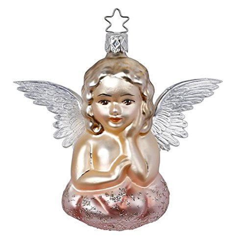 Inge-Glas Vintage Style Romantic Angel German Glass Christmas Ornament FREE BOX