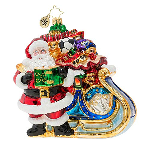 Christopher Radko Hand-Crafted European Glass Christmas Decorative Figural Ornament, Delivery on Its Way!