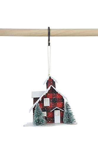 Creative Co-op Red & Black Check Paper House Faux Trees & LED Light Ornament, Green