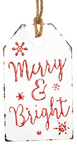 RAZ Imports Vintage Metal Enamel Gift Tag Holiday Ornament 12-in (Merry and Bright)