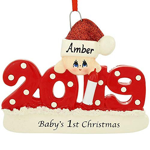 2019 Baby's 1st Christmas Ornament Personalized (Red)