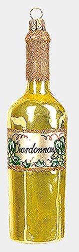 Pinnacle Peak Trading Company Bottle of Chardonnay White Wine Polish Glass Christmas Ornament Decoration