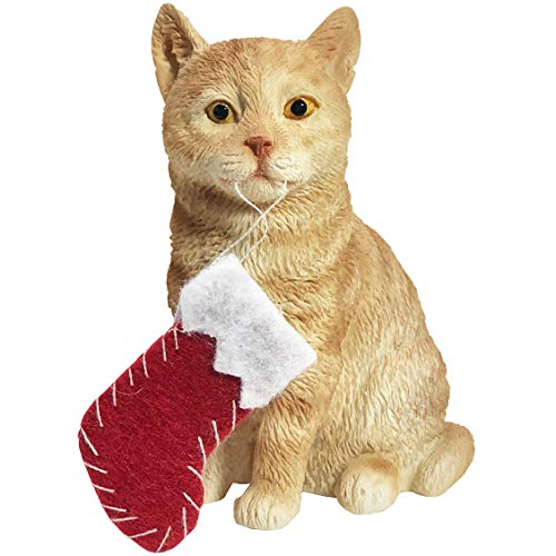 Sandicast Shorthair Ginger Tabby Cat with Stocking Christmas Ornament