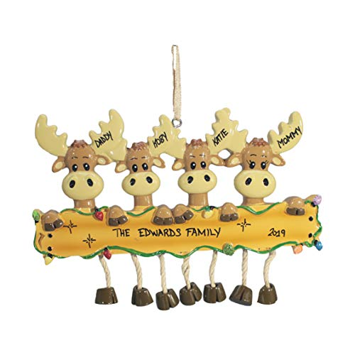 Personalized Christmas Tree Decoration Ornament 2019 – Traditional Home Décor – New Year Santa Gift – Holiday Fun w Hanging Hook – Moose Family of 4 – Free Customization