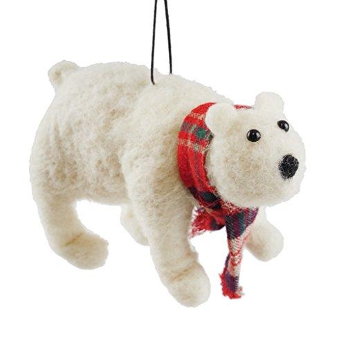 Creative Co-op Wool Polar Bear Wearing Scarf Hanging Christmas Ornament