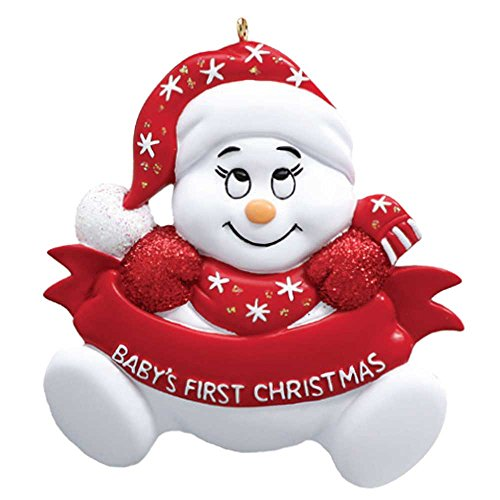 Personalized Snow-Baby's 1st Christmas Tree Ornament 2019 – Cute Snowman Red Santa Sleep Hat God Mom Shower Gender Girl's Boy's Grand-Kid Nursery Star Glitter Quilt Free Customization
