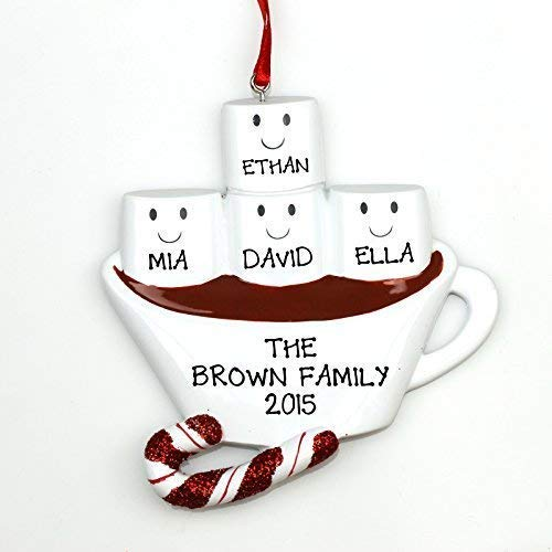 Hot Chocolate Cocoa Family of 4 Christmas Tree Ornament Cute