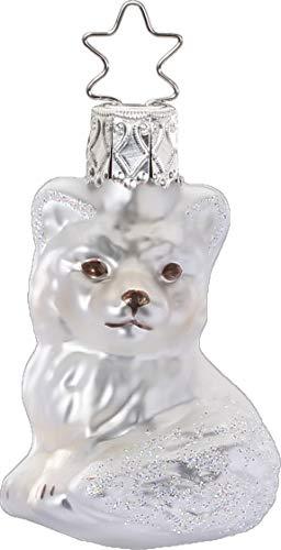 Inge-Glas Little Snow Fox White Matte 10195S019 German Glass Christmas ORN