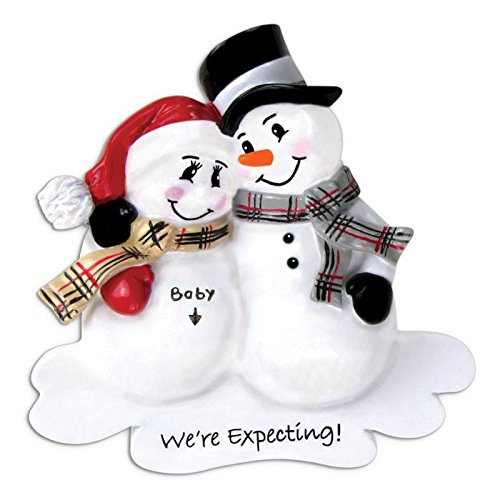 Polar X We're Expecting Snowman Couple Personalized Christmas Ornament