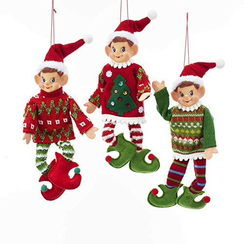 Kurt Adler Traditional Christmas Elves 11″ (Red & Green) Set of 3 Polyester Ornaments for Home Décor