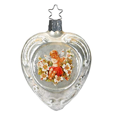 Inge-Glas Hearts & Die-Cut Flowers 10114S018A German Blown Glass Christmas Ornament