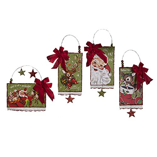 Bethany Lowe Retro Postcard Christmas Ornaments Set of 4