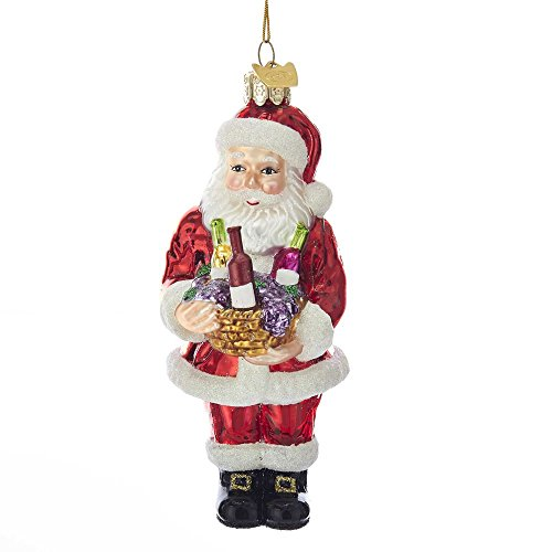 Kurt Adler 4″ NOBLE GEMS SANTA W/WINE+BASKET