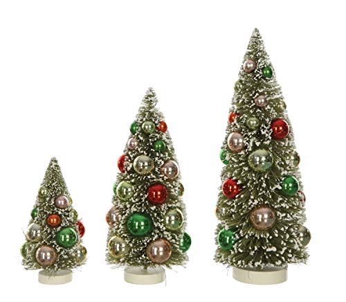 Creative Co-op Green Bottle Brush Multicolor Ornaments and Snow Finish (Set of 3 Sizes) Tree Figurine