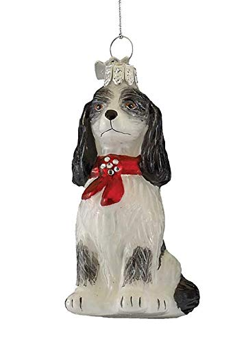 Home Décor Kurt Adler Noble Gems Glass Black Cavalier Tri Color Spaniel Dog Christmas Tree Ornament