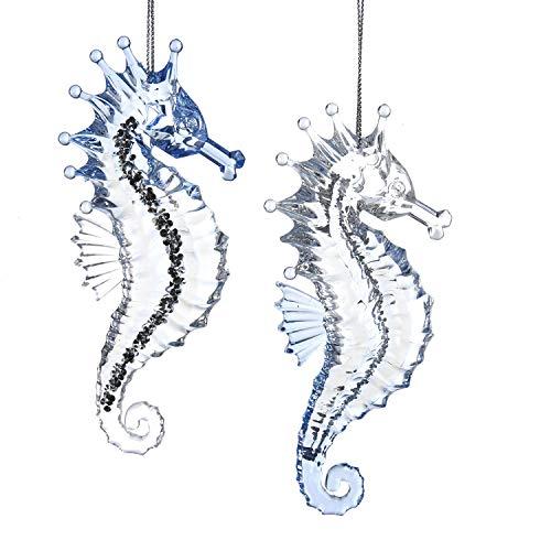 Kurt Adler Silver Glittered Crystal Blue Seahorse 5″ (Set of 2) Acrylic Ornament for Christmas & Home Décor
