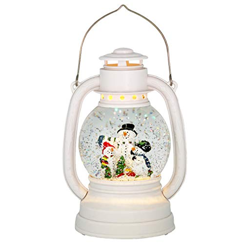 Wondise Christmas Snowman Snow Globe Lantern Battery Operated with 6 Hour Timer, Glitter and Water Swirling Snow Globe Warm Light Thanksgiving Christmas Decoration Gifts, 11 Inches