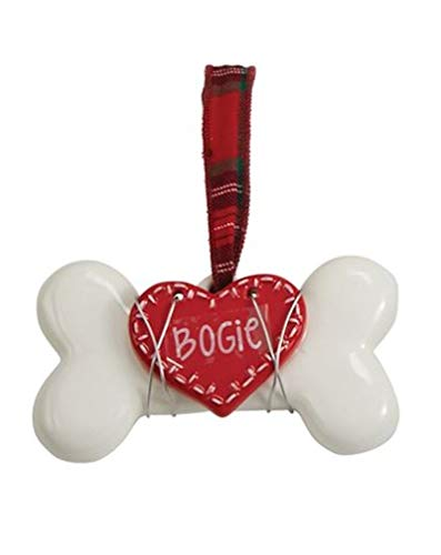 Mud Pie White Bone with Heart Ceramic Ornament