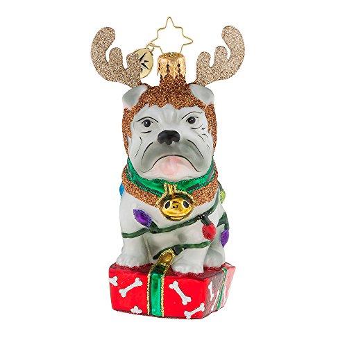Christopher Radko Deer Little Bull Dog Christmas Ornament