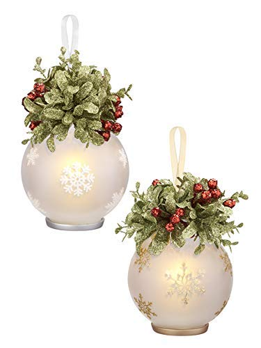 Ganz 4 Inches Mistletoe Snowflake Votive Ornament Glass and Resin Set of 2 Assorted