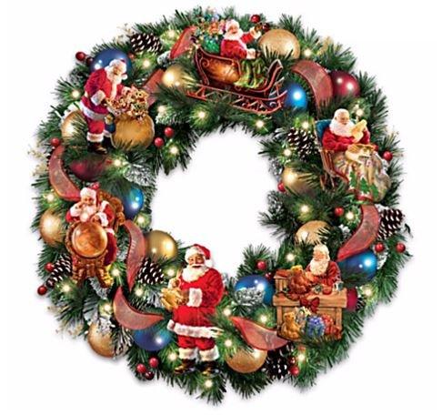 The Bradford Exchange Dona Gelsinger Light Up Christmas Wreath with Sculptural Santa Story