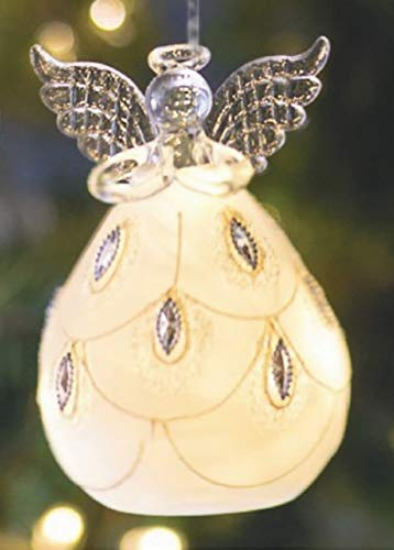 Ganz Battery Operated Angel LED Holiday Frosted Ornaments ~ Choose from Four Designs (Angel (D))