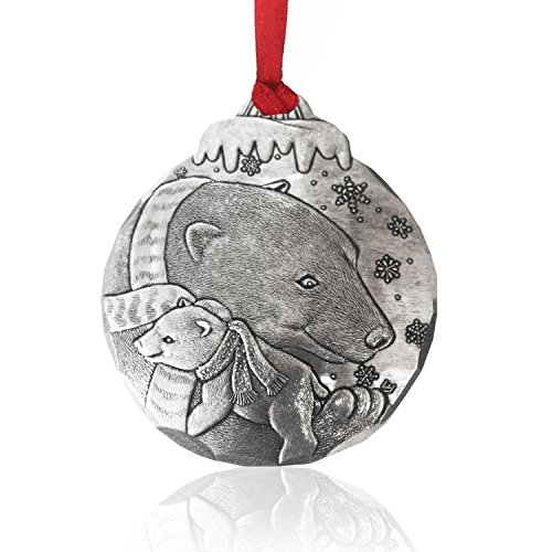 Wendell August Forge Polar Bear Hug Christmas Ornament, 2.5″ x 3″- Timeless Hand-Hammered Aluminum Holiday Ornament Features Iconic Christmas Train – Makes a Great Gift – Made in the USA