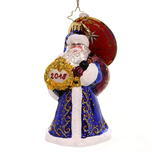 Christopher Radko 2018 Dated A Year To Remember Santa Glass Ornament