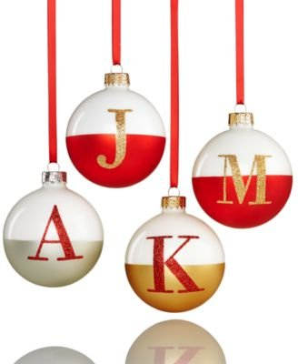 Holiday Lane Glass Ball Initial Ornament A