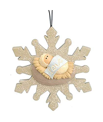 Needzo Baby Jesus Christ in Manger Christmas Ornament for Xmas, 3 Inch